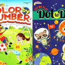 Let Me Play - Dot to Dot & Color by Number - Coloring & Activity Books (Set of 2 Books)