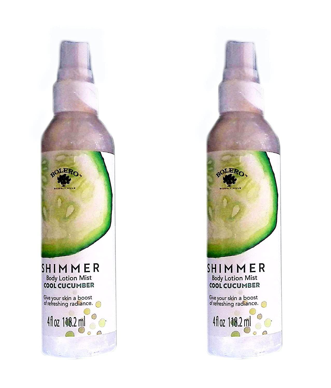 Bolero Shimmer Body Lotion Mist - Cool Cucumber 4fl oz 118.2ml (Set of 2)