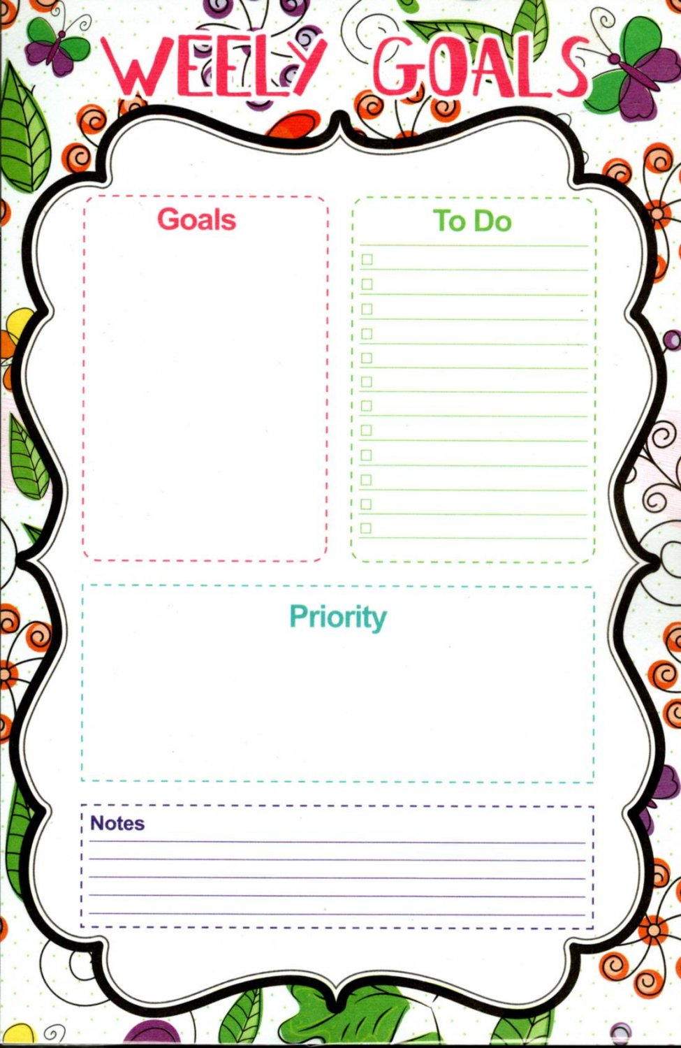 """List Pad Weekly Planner Calendar - Welly Goals (Goals, To Do, Priority, Notes) 5.5"""" X 8.5"""""""
