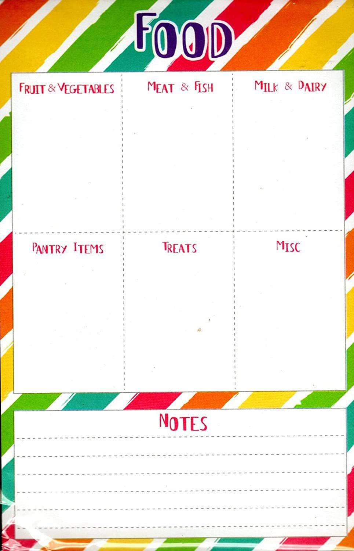 "List Pad Weekly Planner Calendar - Food, Notes. 5.5"" X 8.5"""
