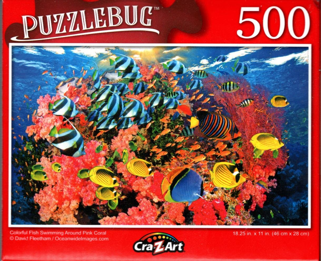 Colorful Fish Swimming Around Pink Coral - 500 Pieces Jigsaw Puzzle for Age 14+