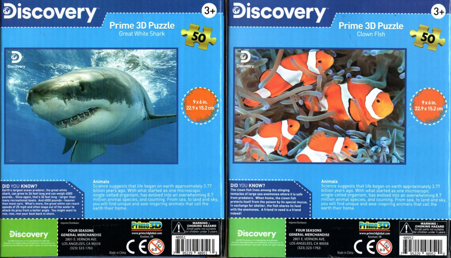 Discovery -  Prime 3D 50 Pieces Jigsaw Puzzle (Set of 2) v4