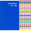 2021 - 2022 Student Academic Planner Calendar - School College Weekly Agenda + 100 Stickers - v2
