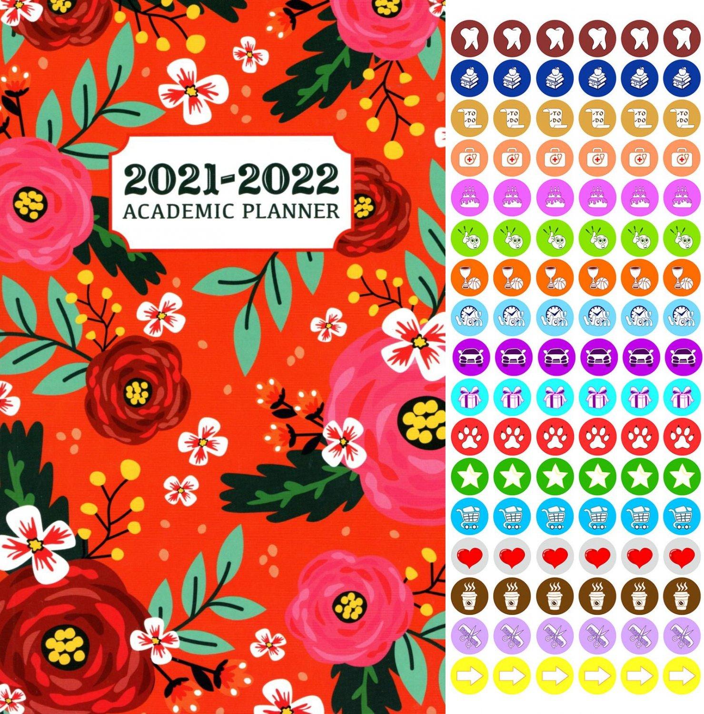 2021 - 2022 Academic Planner Calendar - School College Weekly (Spiral Bound) + 100 Stickers v2