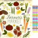 2022 12 Month Wall Calendar - Farmers Market - with 100 Reminder Stickers