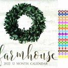 2022 12 Month Wall Calendar - Farmhouse - with 100 Reminder Stickers