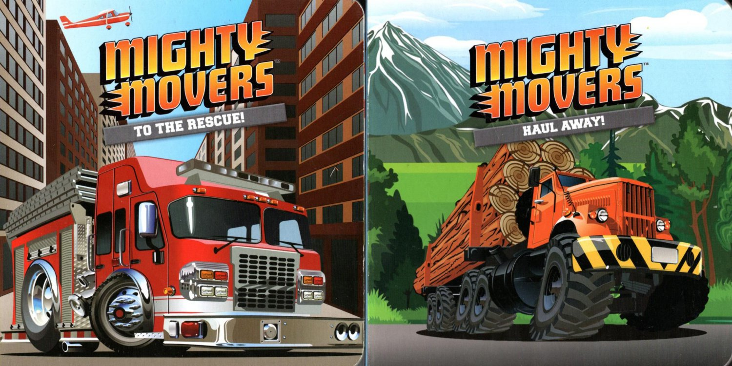 Mighty Movers to the Rescue & Haul Away - Children's Board Book (Set of 2 Books)