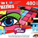 Pop Art Eye / Pressed Makeup Palette - Total 480 Piece 2 in 1 Jigsaw Puzzles