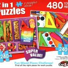 Lunch with Love / School Supplies - Total 480 Piece 2 in 1 Jigsaw Puzzles