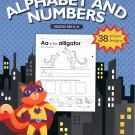 Cut, Trace, and Paste Alphabet & Numbers - Reproducible Educational Workbook (v2) - Grades Pre-K - K