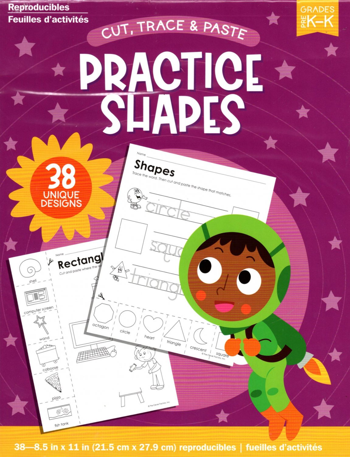 Cut, Trace, and Paste Practice Shapes - Reproducible Educational Workbook - Grades Pre-K - K v2