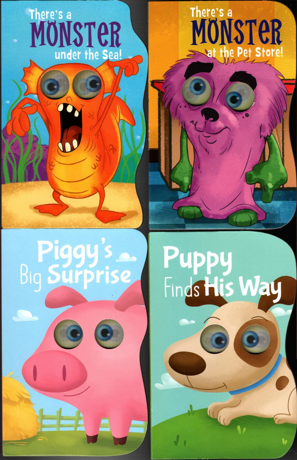 There`a Monster Under the Sea - Children's Board Book (Set of 4 Books)