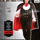 Vampire Costume True Vamp Black Halloween Party Size Adult Plus Men