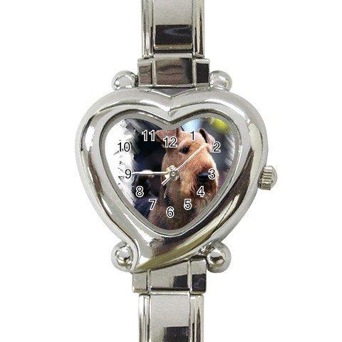 Airedale Terrier Heart Shape Italian Charm Watch 12100169