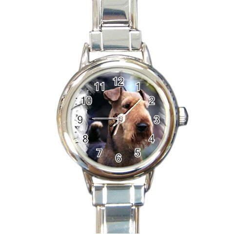 Airedale Terrier Round Italian Charm Watch 12100156