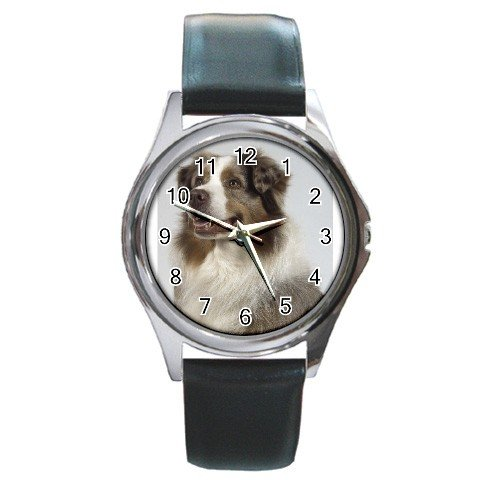 Australian Shepherd Dog Round Metal Watch UNISEX  12102624