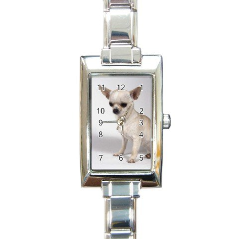 Chihuahua Dog Rectangular Italian Charm Watch 12102671