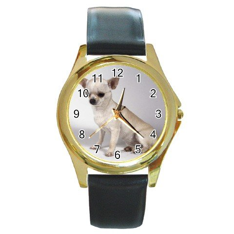 Chihuahua Dog Round Gold Metal Watch Unisex  12102678