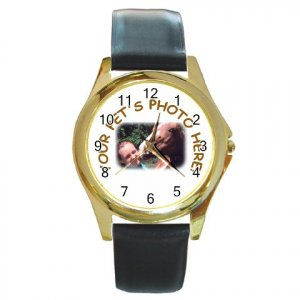 Your Pet Picture Customized Personalized Round Gold Metal Watch Unisex 12114984
