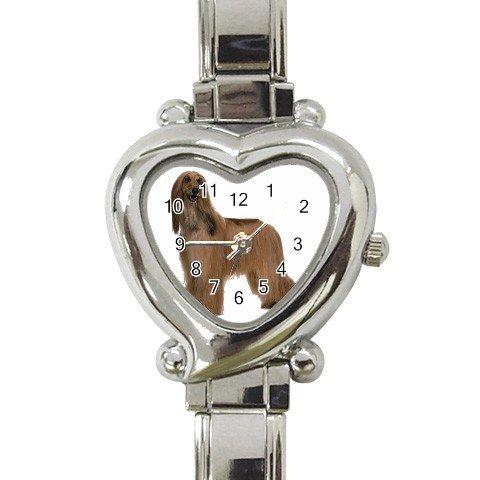 Afghan Hound Dog Heart Italian Charm Watch 12112197