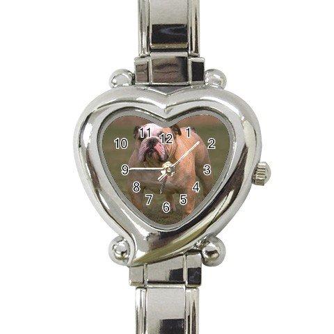 Bulldog Bull Dog  Heart Italian Charm Watch 12124834