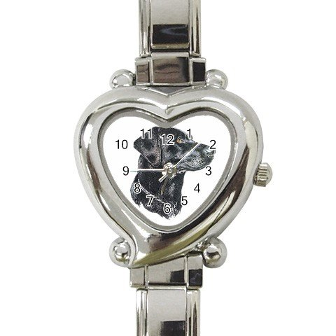 Black Lab Labrador Retriever Dog Heart Italian Charm Watch 12135272
