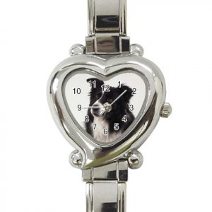 Border Collie Dog Heart Italian Charm Watch 12142760