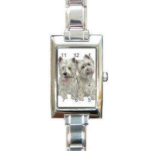 Westies West Highland White Terriers Dog Rectangular Italian Charm Watch 12111260