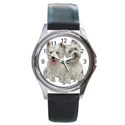 Westies - West Highland White Terriers - Dog Round Metal Watch UNISEX 12111262
