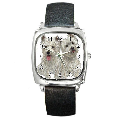 Westies - West Highland White Terriers Dog Pet Lover Square Metal Watch Unisex 12111273