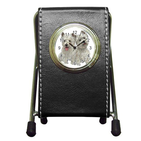 Westies - West Highland White Terriers - Dog Pet Lover Pen Holder Desk Clock 12111277