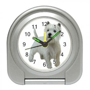 West Highland White Terriers - Westies - Dog Pet Lover Travel Alarm Clock  12111847