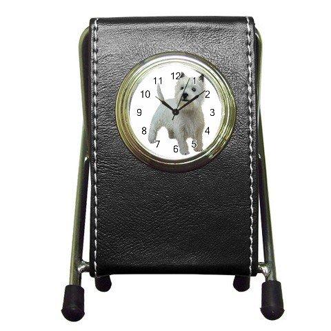West Highland White Terriers - Westies - Dog Pet Lover Pen Holder Desk Clock 12111849