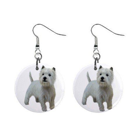 West Highland White Terriers - Westies - Dog Button Earrings 12111836