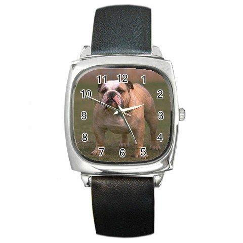 Bulldog Bull Dog Pet Lover Square Metal Watch Unisex  12124832