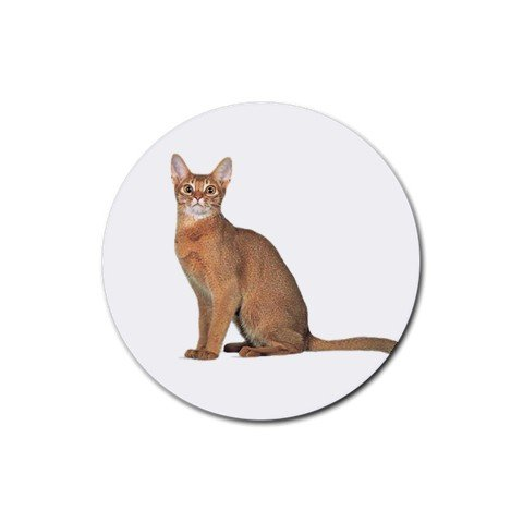 Abyssinian Cat Pet Lover  Rubber Round Coaster 4 pack 12168402