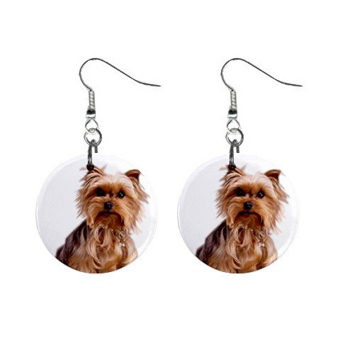 Yorkshire Terrier Yorkie Dog Button Earrings Pet Lover Jewelry 12111019