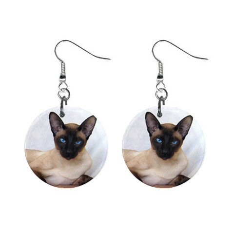 Siamese Cat Pet Lover Jewelry Button Earrings 12203176