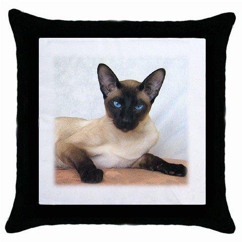 Siamese Cat Pet Lover Throw Pillow Case Black 12203179