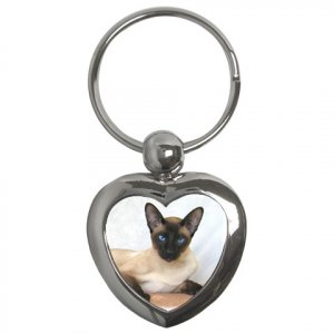 Siamese Cat Pet Lover  Key Chain Heart 12203188