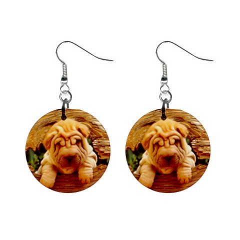 """New Dog Chinese Shar Pei Puppy Dangle 1"""" Round Button Earrings 14172876"""