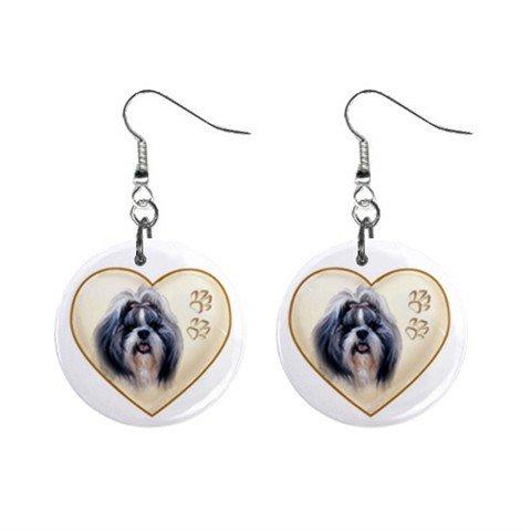 Shih Tzu Dog Heart Pet Lover Jewelry Button Earrings 12977478