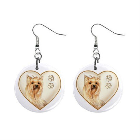 Yorkshire Terrier Yorkie Heart Pet Lover Jewelry Button Earrings 12977542