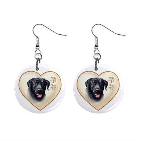 Black Lab Labrador Retriever Dog Heart Pet Lover Jewelry Button Earrings 12977545