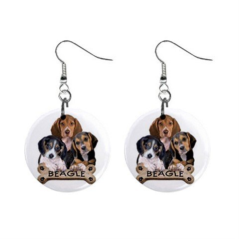 Dog Beagle Pet Lover Jewelry Button Earrings 15454521