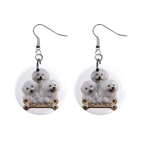 Bichon Frisé Dog Pet Lover Jewelry Button Earrings 15454503
