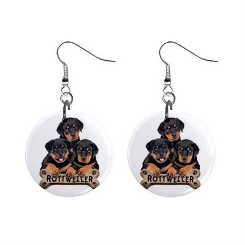 Rottweiler Dog Pet Lover Jewelry Button Earrings 15454497