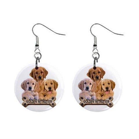 Golden Retriever Lab Dog Pet Lover Jewelry Button Earrings 15454493