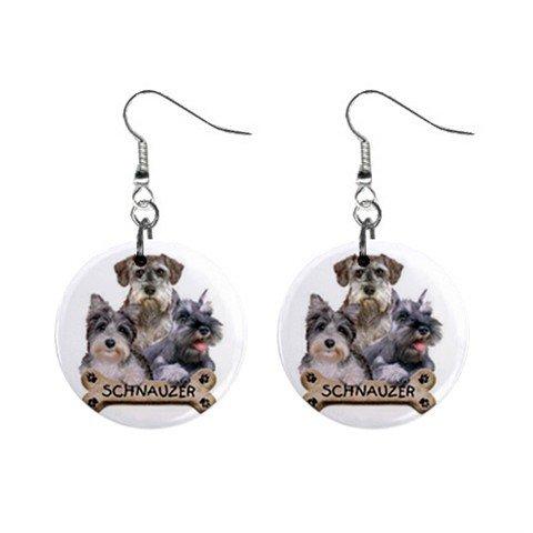 Schnauzer Dog Pet Lover Jewelry Button Earrings 15454490