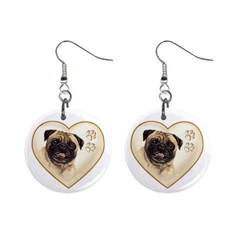 Pug Heart Pet Lover Jewelry Button Earrings 12977541